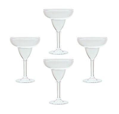 QG 12 oz Clear Acrylic Plastic Margarita Glass Goblet Set of 4 - Margarita Plastic Glasses