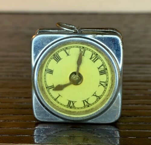 Antique Figural Tape Measure Clock ~ Germany ~ White Metal ~ Works Great
