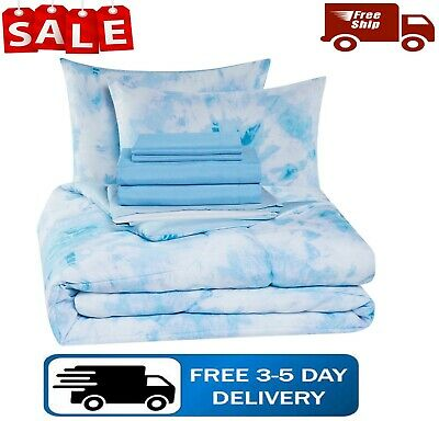 Bed in bag comforter set tie dye reversible bed sheets 8-pieces full queen size