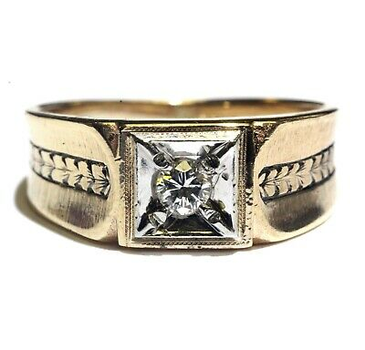 10k yellow gold .15ct SI1 H diamond solitaire mens band ring 4.1g gents ()