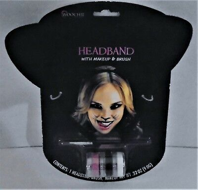 ACCESSORY KIT - FELT HEADBAND EARS & MAKEUP & BRUSH – NIP  (Halloween Kitty Make-up)