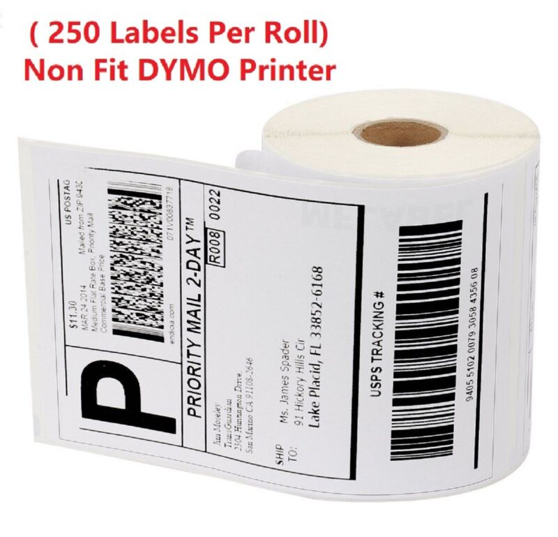 4 Rolls Labe 4x6 Zebra ZP450 2844 Eltron Direct Thermal Shipping 1000 Labels