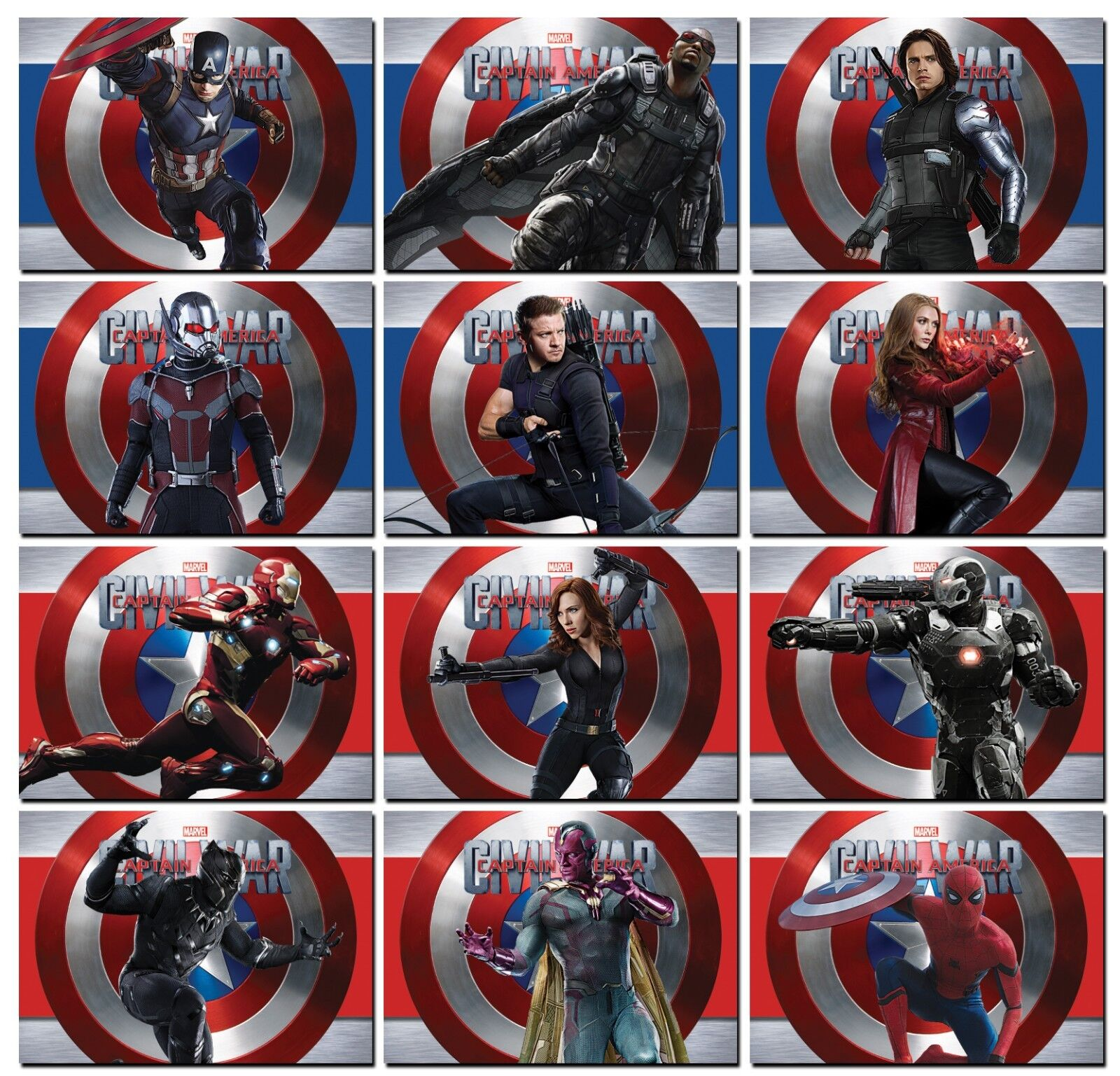 Base 2016 Marvel Captain America Civil War; 200 Card Master Set Red /& Blue Foil