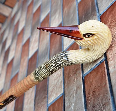 35 inch stork Canes Walking Sticks Wooden Handmade Sale Carving Craft NEW