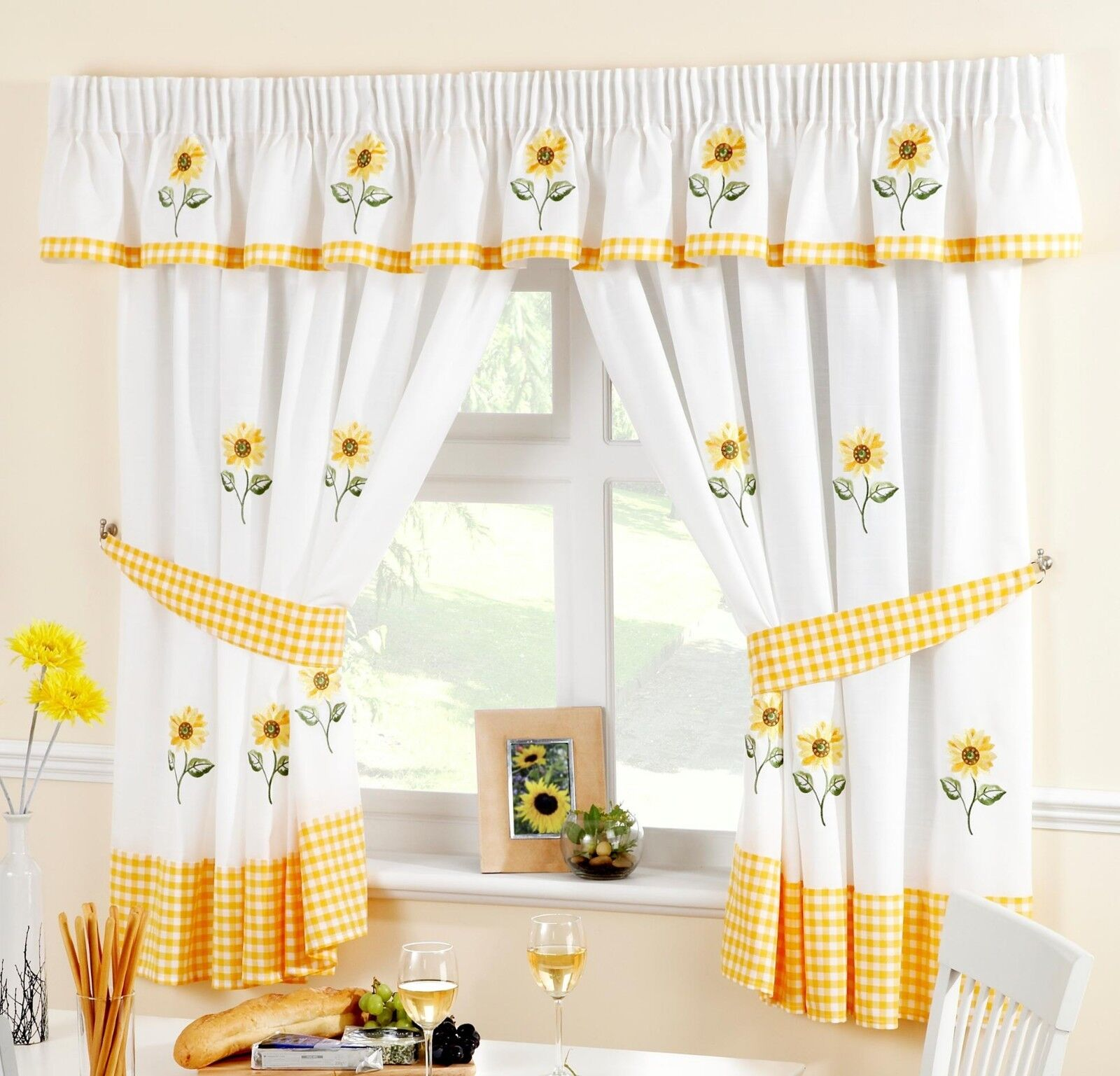 Sunflower Yellow White Voile Cafe Net Curtain Panel Kitchen Curtains Ebay