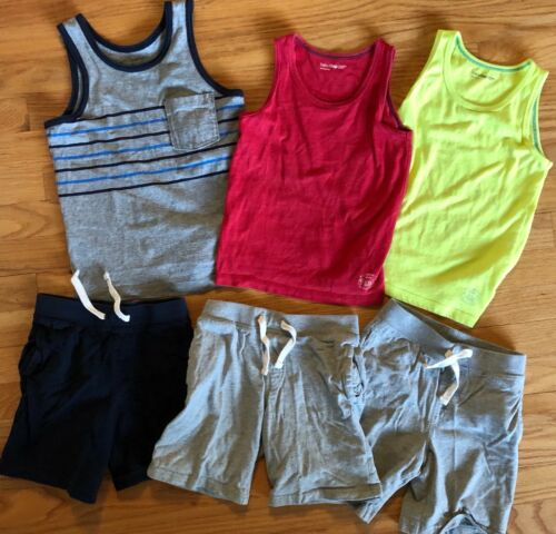 BABY GAP Tank Top + Knit Pull On Shorts Lot of 6 - Summer Outfits Blue Gray Red