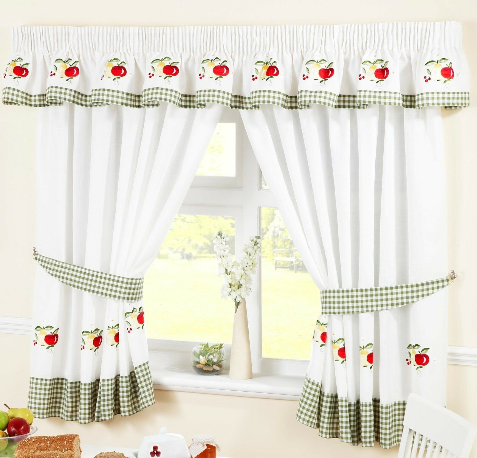 Details about FRUIT COLOURFUL GREEN VOILE CAFE NET CURTAIN PANEL KITCHEN  CURTAINS