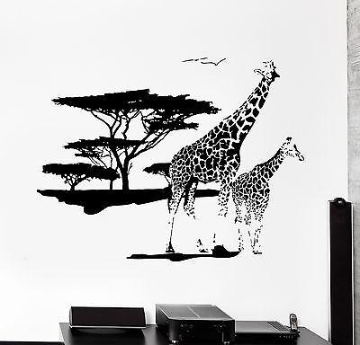 Wall Vinyl Decal Giraffe Africa African Jungle Safari Animal Bedroom Decor - Safari Bedroom Decor