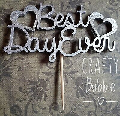 Best Day Ever -hand made WOODEN CAKE TOPPER - ANY COLOURS WEDDING