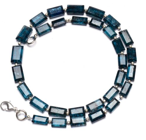 """Natural Gem Green Imperial Kyanite Faceted Nugget Beads Necklace 17"""" 121 Ct."""