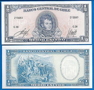 Chile P 134A 1 2 Escudo Year Nd Issue 1962 75 Uncirculated  Free Shipping