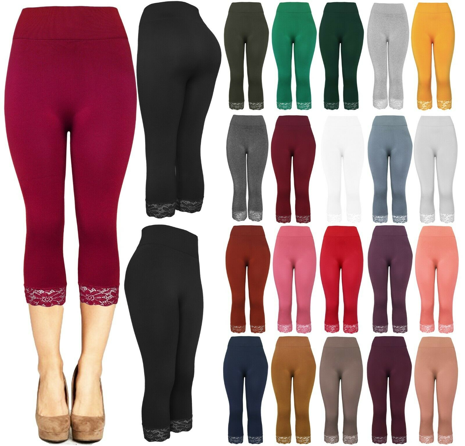 Womens Seamless S-3XL Lace Trim Capri Leggings Clothing, Shoes & Accessories