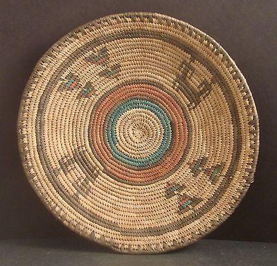 "Large Vtg African Coiled Woven Basket  - 13"""