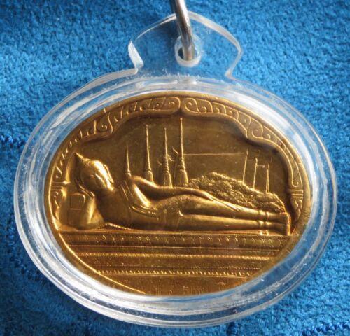 1987 Thailand Reclining Buddha King Rama 9 IX Medal Amulet Thai Water Proof Case