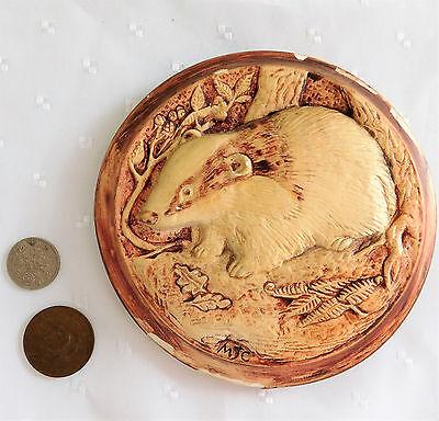 """Decorative badger picture plaque British wild animals 10"""" x 7"""""""