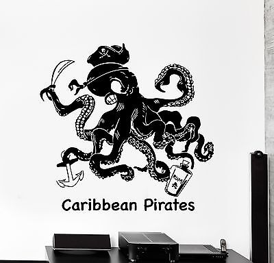 Wall Decal Octopus Caribbean PIrates Rum Funny Decor z3978 - Caribbean Decor