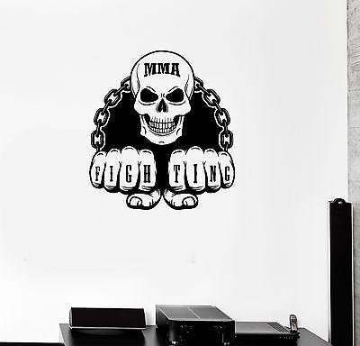 Vinyl Wall Decal MMA Martial Arts Fighting Skull Sports Fan