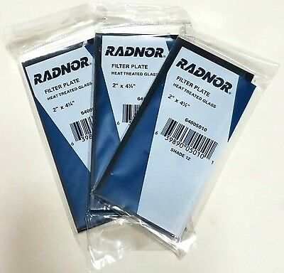 Radnor Shade 12 Glass Filter Plate Lens 2 X 4 14 Welding Helmet Hood Lot Of 3