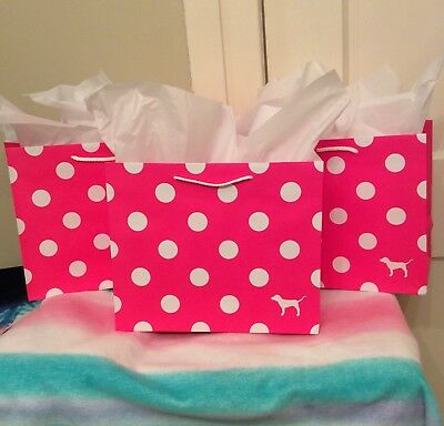 Polka Dot Paper (NEW VICTORIA'S SECRET PINK PAPER POLKA DOT GIFT BAG TISSUE SET (3+6=9 PC)