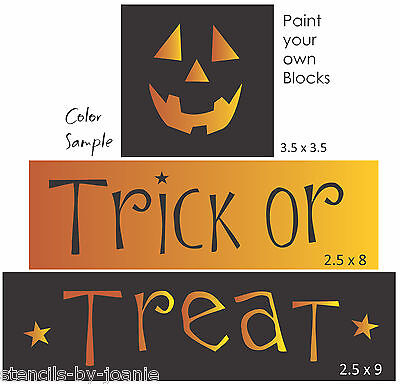 Halloween Font Stencils (Joanie Stencil Trick Treat Jack Face Pumpkin Halloween Country Prim Sign)