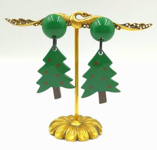 FRENCH DESIGNER RESIN CHRISTMAS TREE DANGLING CLIP ON EARRINGS