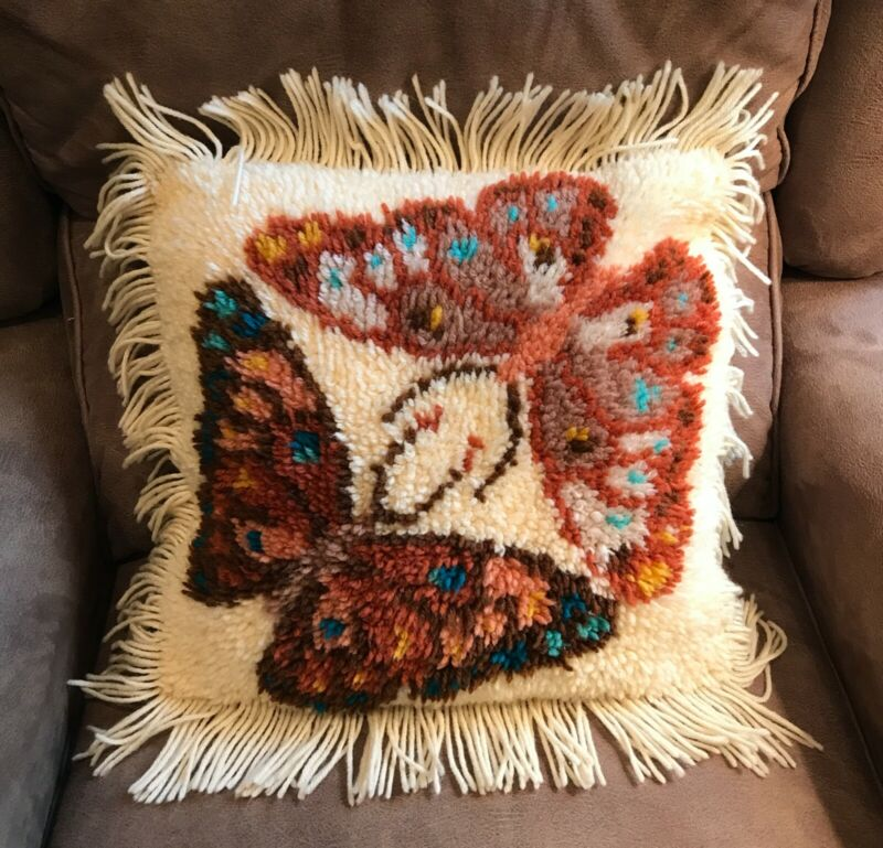 Latch Hook Vintage Butterfly Pillow Finished