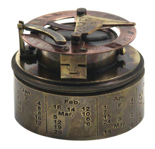Brass Compass Sundial Sailor Maritime Nautical Elliot Bros Calendar Pocket Gift