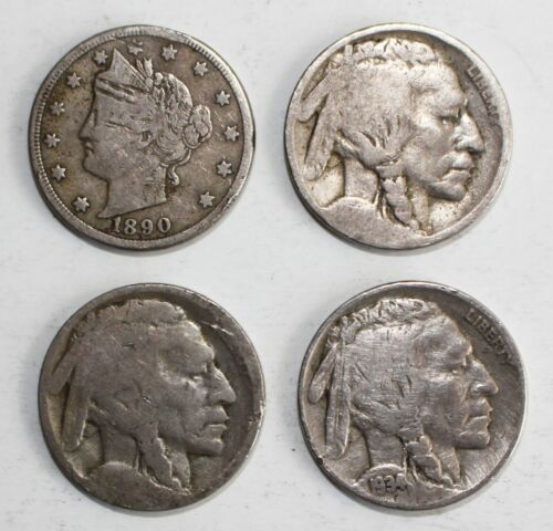 4 Coin Lot Buffalo & Liberty V Nickels 1934 & 1890 Two With No dates 5c US Coins