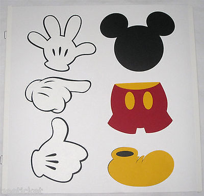 disney MICKEY MOUSE BODY PARTS die cut out cutouts 6pc - head hands pants shoe