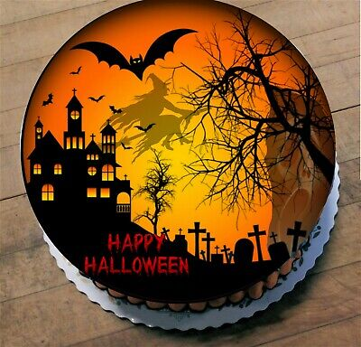 Scary Halloween Birthday Cakes (Halloween  Edible  Cake Topper Ribbon and Cupcake Toppers Scary)