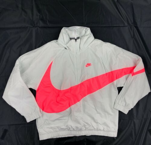 Nike Big Swoosh Anorak Half Zip Jacket White Pink AJ1404-122 Men