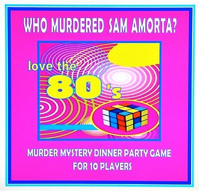 HOST A 1980's MURDER MYSTERY DINNER PARTY GAME for 10 players