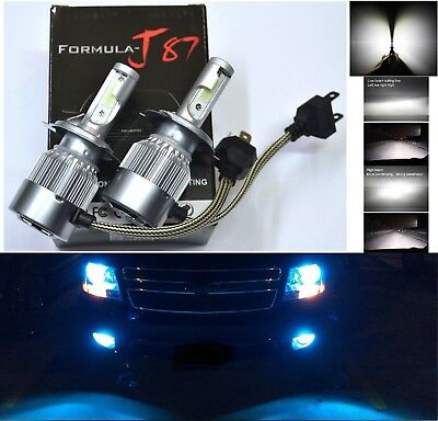 LED Kit C6 72W 9003 HB2 H4 10000K Blue Headlight Plug Play Upgrade Lamp Fan Cool