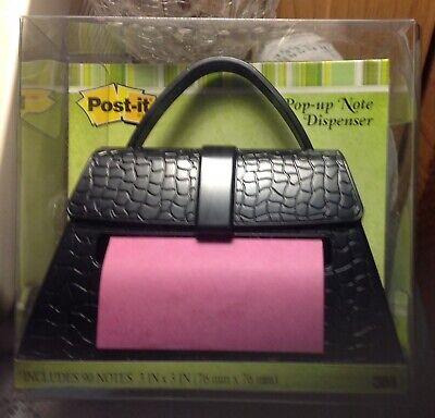 Post It Pop Up Note Dispenser Black Crocodile Purse Work Home Desk Accessory