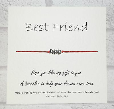 Wish Bracelet Message Tibetan Charm Card Birthday, Best Friend, Mum, Sister Gift