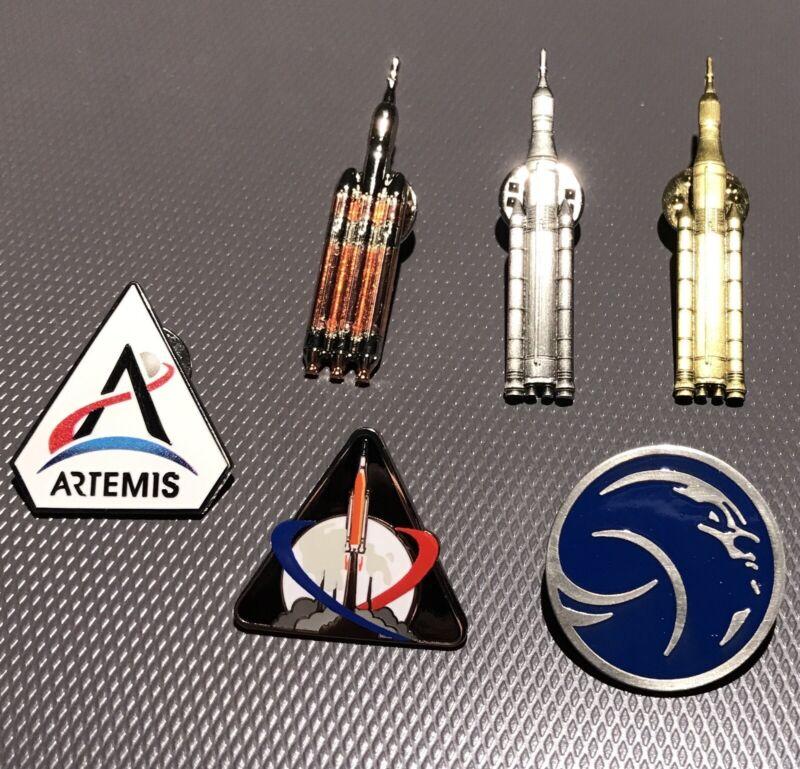 NASA Artemis SLS Rocket EFT-1 Pin Set Lapel Woman On Moon Lot Of 6