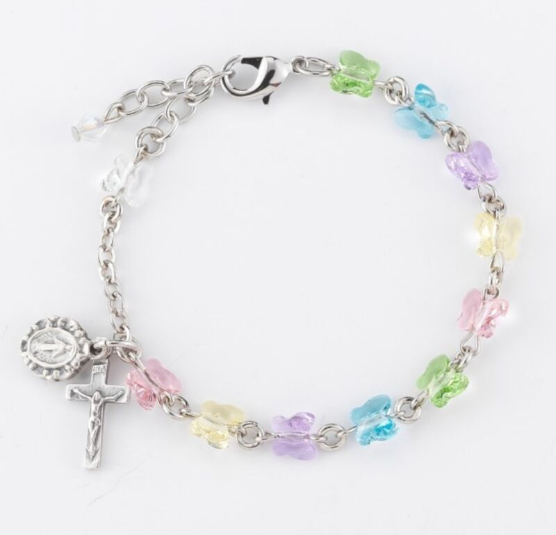 Butterfly Bead Bracelet With Miraculous Medal and Crucifix For Kids, 7.5 In N.G.