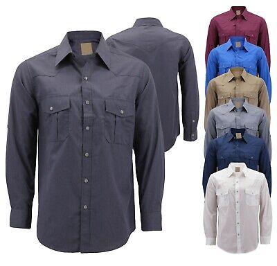 Men's Casual Western Pearl Snap Button Down Long Sleeve Cowboy Dress Shirt