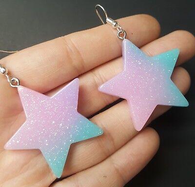 (Purple Pink & Blue Acrylic Star Glitter Earrings, Kawaii Cute Pastel Goth Punk)