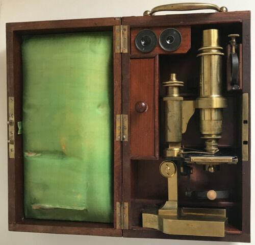 Antique Constant Verick, Hartnack Brass Microscope, c.1872, Paris, #1234 w/ Case