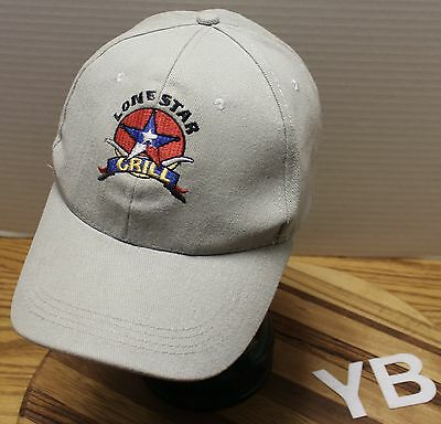 LONE STAR GRILL TEXAS HAT LIGHT GRAY ADJUSTABLE EMBROIDERED GOOD CONDITION YB