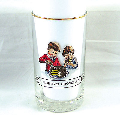 """Hershey's Chocolate Collectors Clear Drinking Glass Tumbler Gold Rim 5""""Tall"""