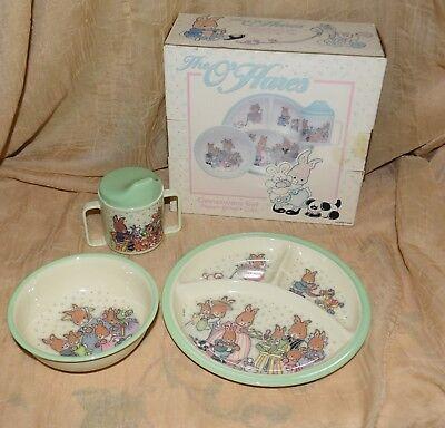 - THE O'HARES DINNERWARE SET CHILDS 3 PIECE PLATE BOWL CUP CARA 1994 MELAMINE