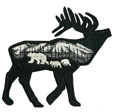 Glitter Elk Bear Family Embroidered Patch Iron/Sew-On Applique Travel Souvenir
