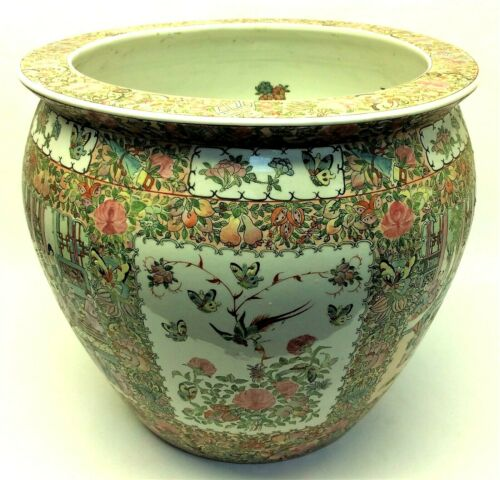 Large Chinese Planter Pot Porcelain Rose Medallion Butterfly Reproduction