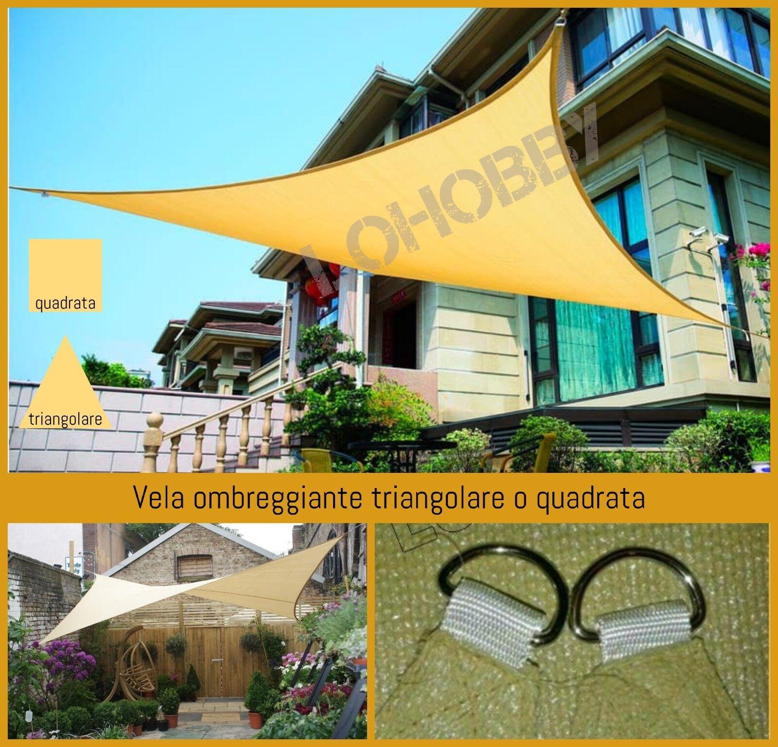Vela Telo ombreggiante quadrata triangolare da giardino per ombra parasole rete