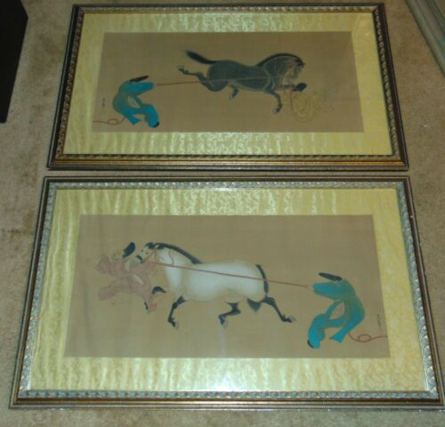 RARE  Artist Pair signed / seal  Chinese paintings on silk, figure with horse