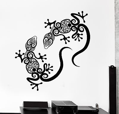 - Wall Decal Gecko Lizard Animal Ornament Tribal Mural Vinyl Decal (z3314)