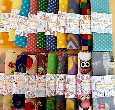 Reusable Beeswax Food Wraps 20 x 20cm approx  (Choose your fabric patterns)