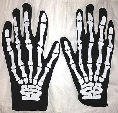 Gothic Punk Rocker SKELETON HAND BONE GLOVES Cosplay Halloween costume Accessory